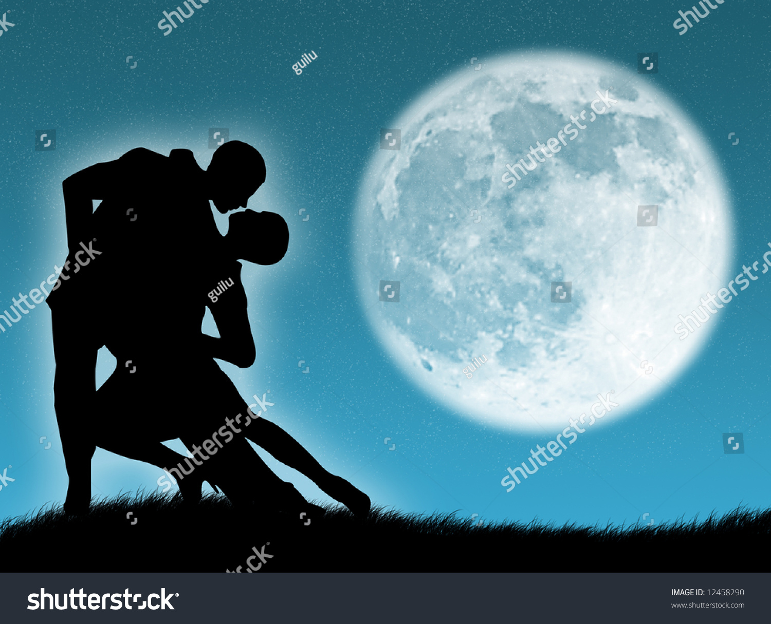 Couple Dancing A Tango In The Moonlight Stock Photo ...
