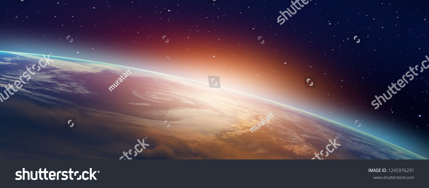 "Planet Earth with a spectacular sunset ""Elements of this image furnished by NASA"" #1245976291"