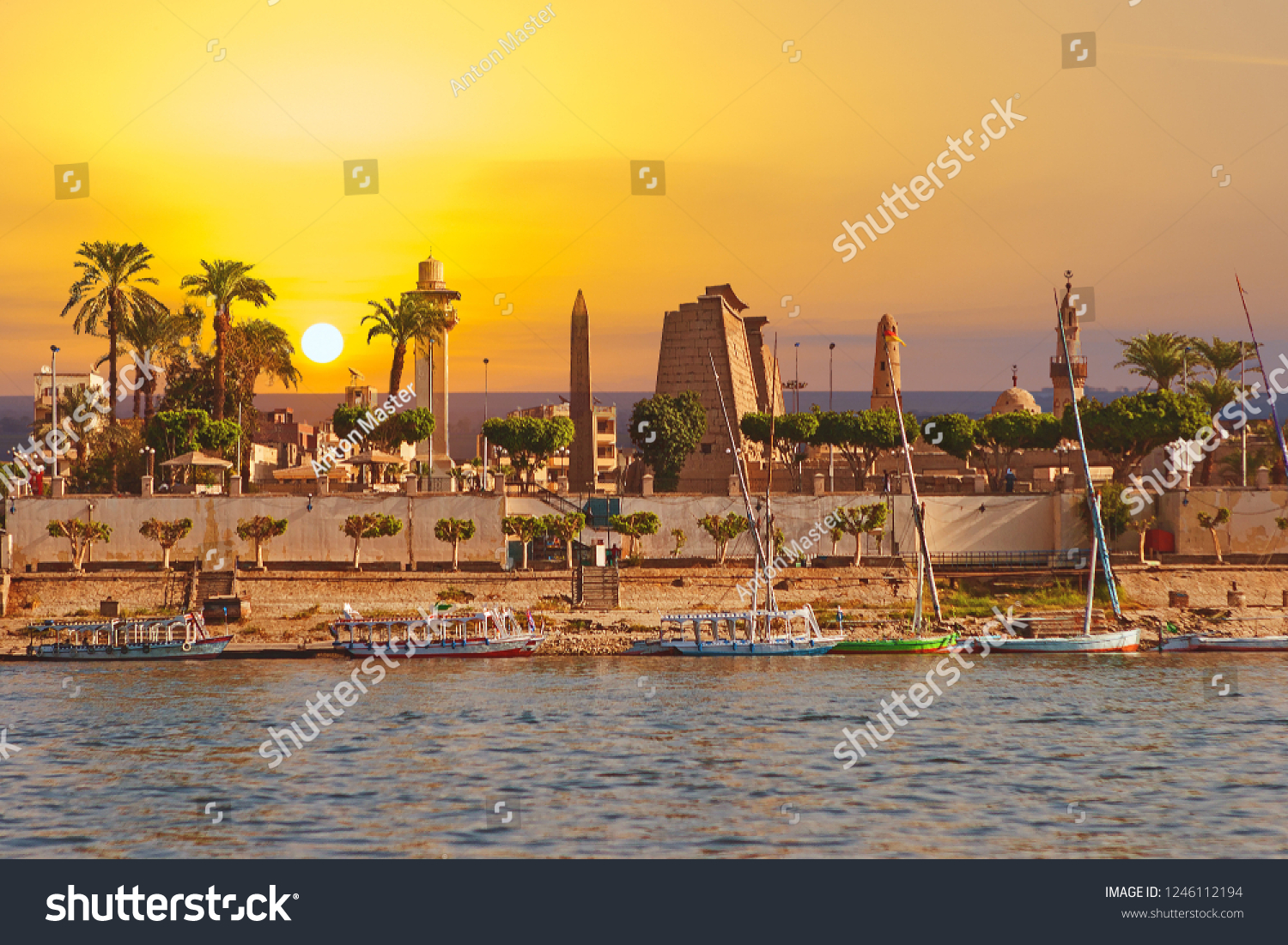 River Nile Luxor Egypt, Beautiful yellow sunny background #1246112194