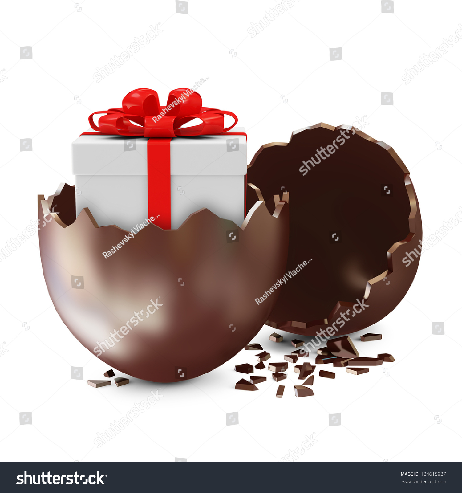 Broken chocolate easter egg gift box 124615927 broken chocolate easter egg with gift box inside over white background negle Choice Image