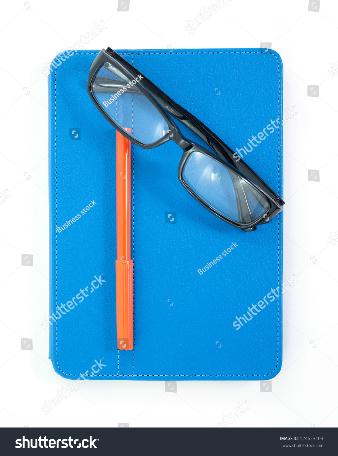 reading glasses with blue book and pen isolated on the white stock photo 124623103 shutterstock. Black Bedroom Furniture Sets. Home Design Ideas