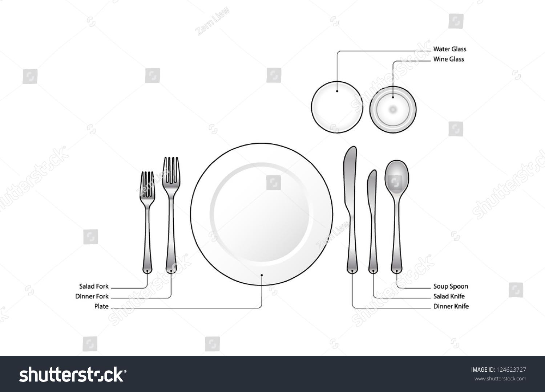Diagram       Place       Setting    Informal Dinner Text Stock Vector