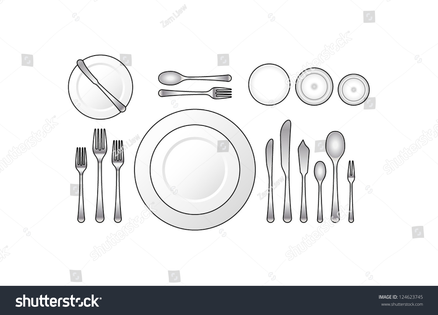 Diagram Place Setting Formal Dinner Oyster Stock Vector HD (Royalty ...