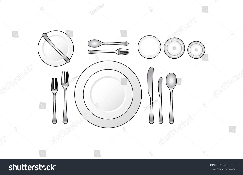 Formal Dinner Setting diagram place setting formal dinner soup stock vector 124623757