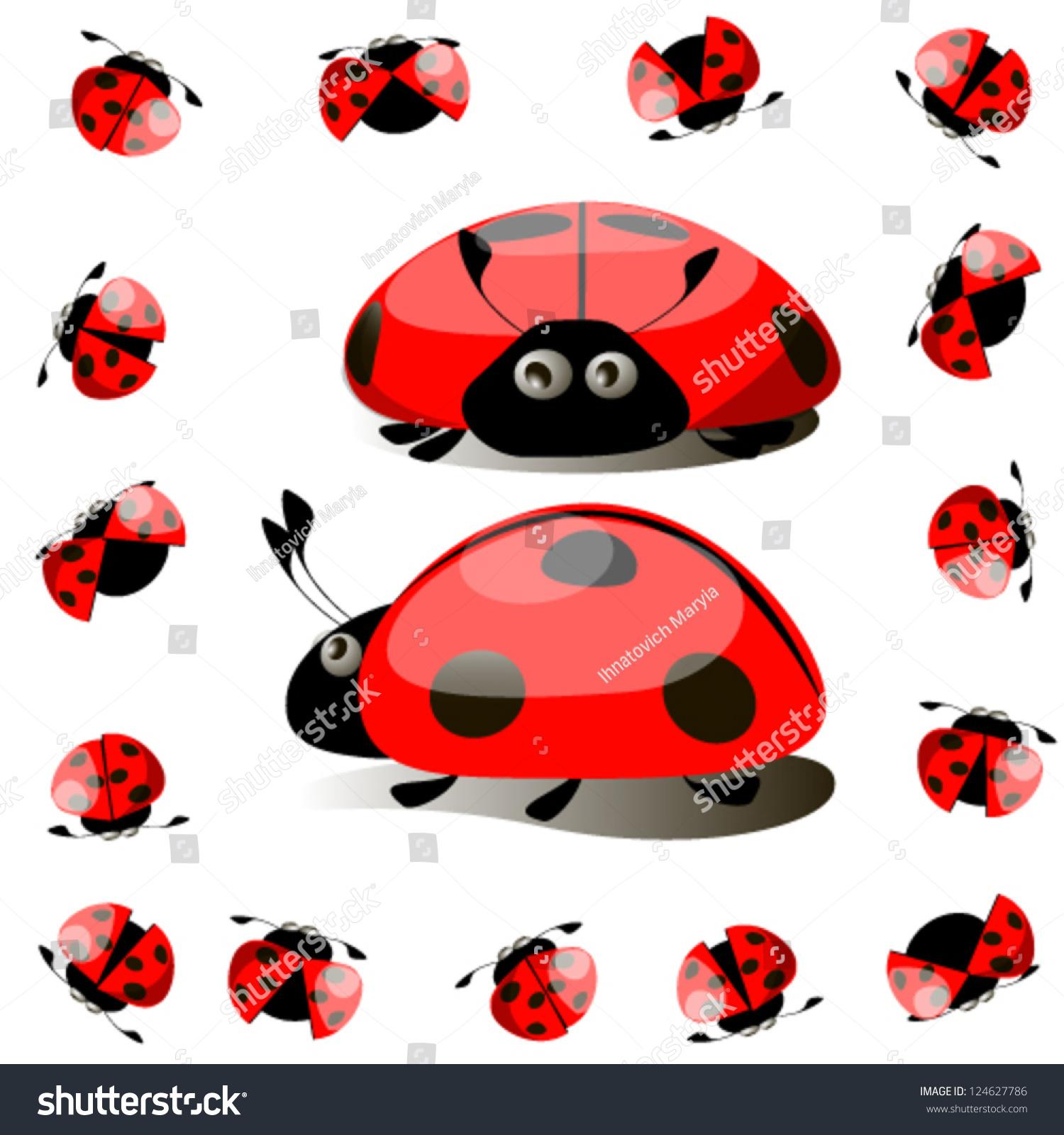 colorful set ladybird vector stock vector 124627786 shutterstock