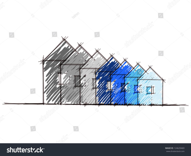 Hand Drawn Sketch Diagram House Environmental Stock Vector ...