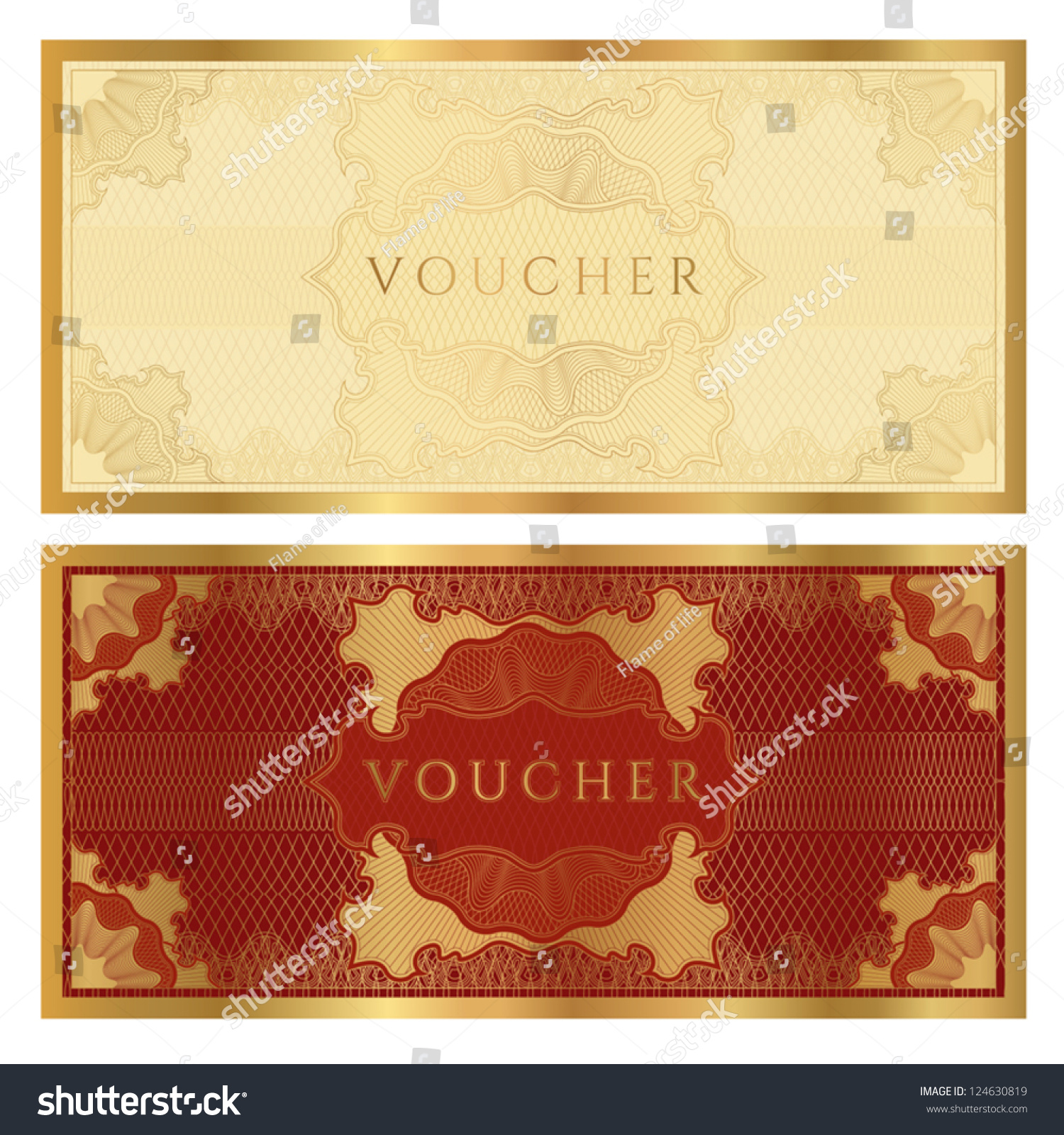 Golden Voucher Template Guilloche Pattern Watermarks Vector – Template for a Voucher