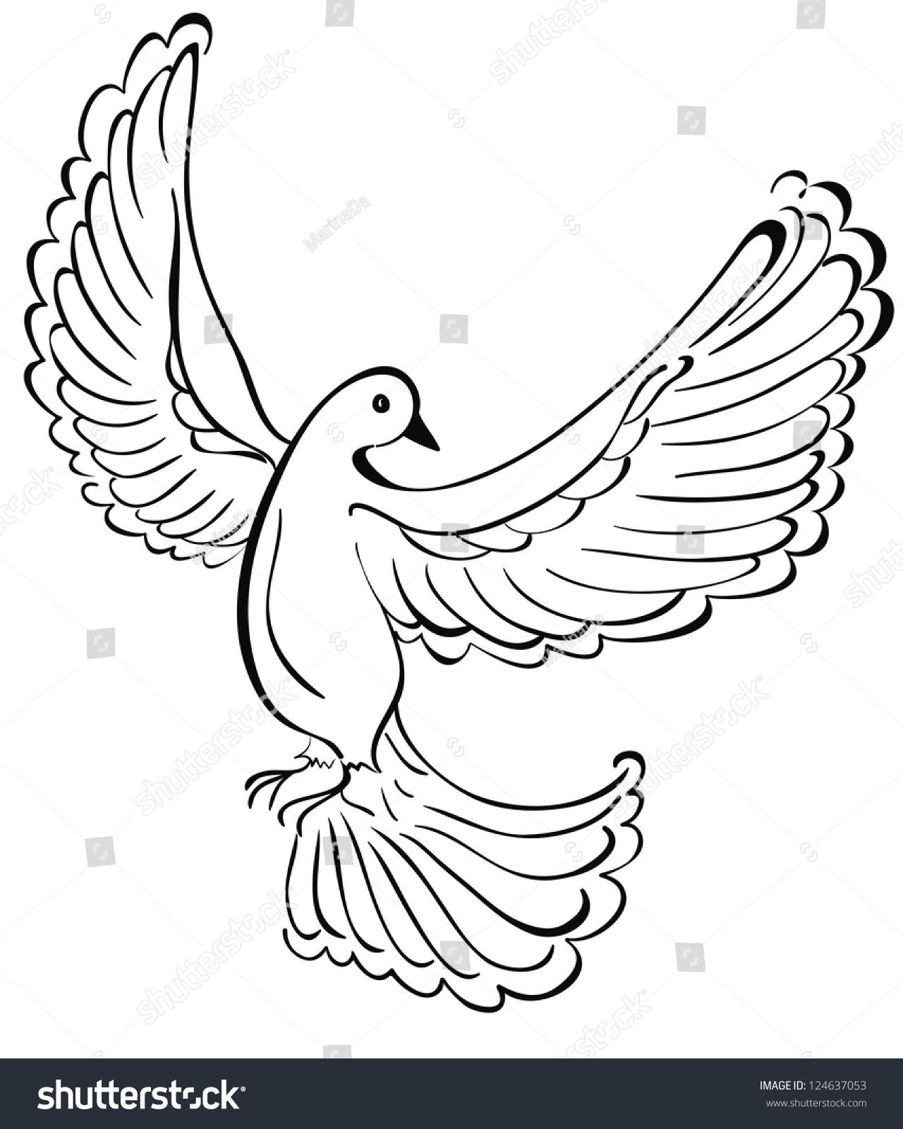Vector Illustration Of Flying Dove - 124637053 : Shutterstock