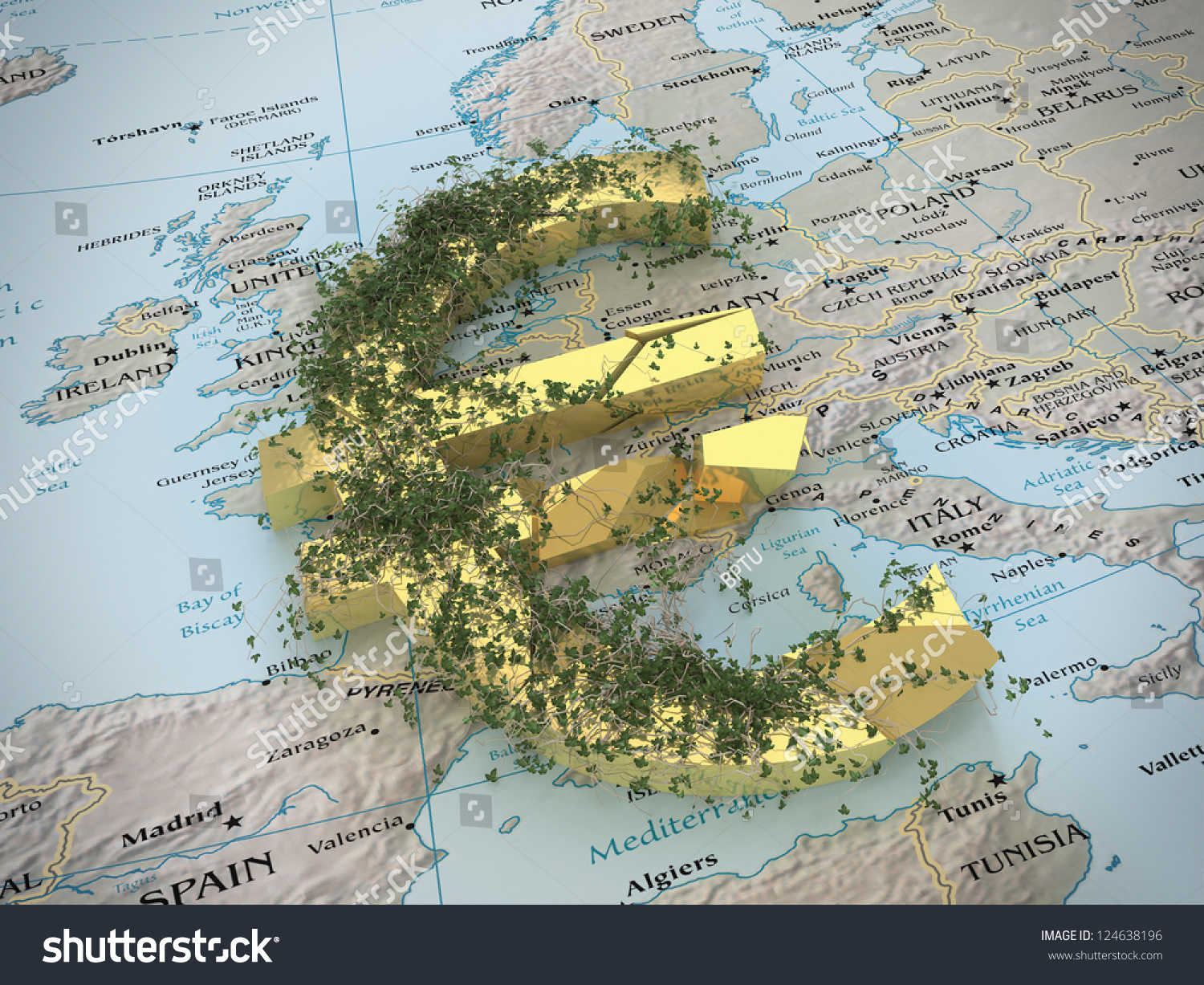 Broken euro currency symbol on political stock illustration a broken euro currency symbol on the political map of europe biocorpaavc Images