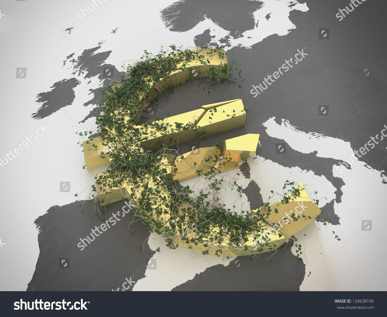 Broken Euro Currency Symbol On Map Stock Illustration 124638199