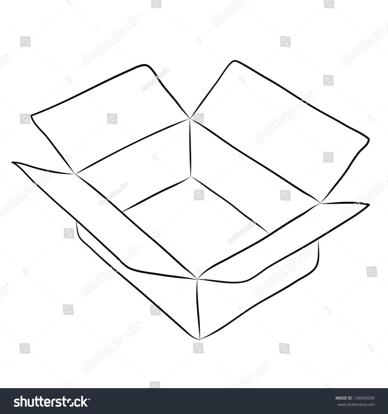 Line Art Box Design : Drawing of box stock vector illustration