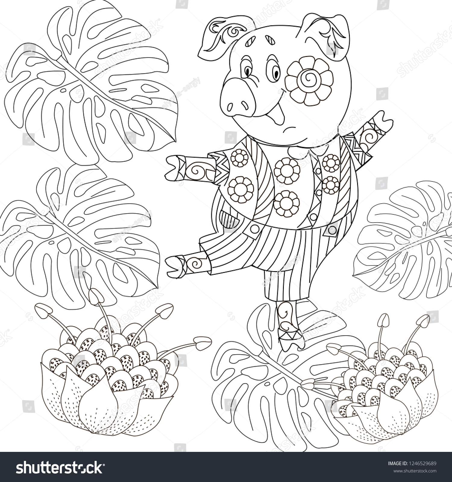 Coloring Pages Coloring Book Children Adults Stock Vector Royalty