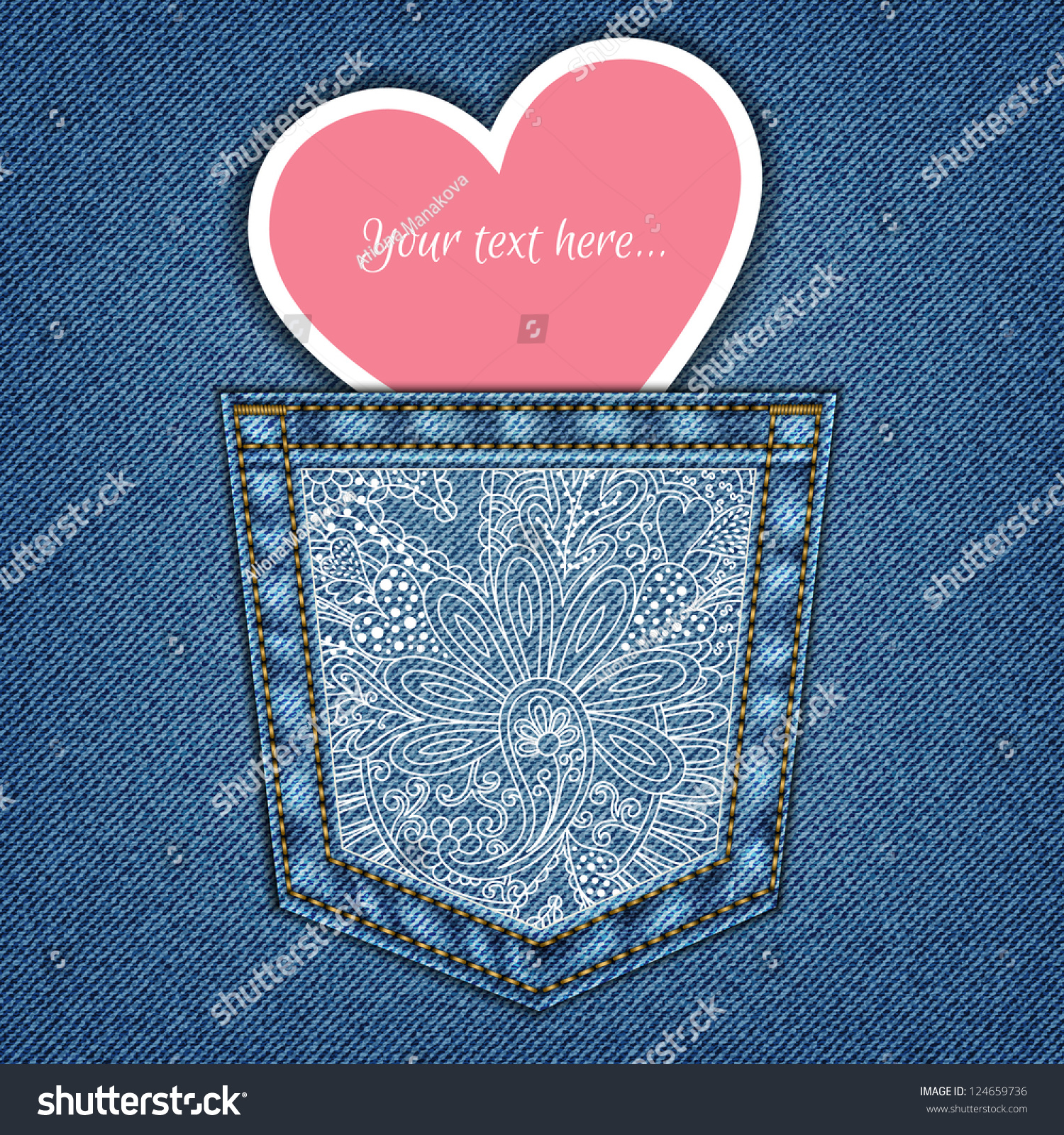 Invitation card on denim background jeans stock vector hd royalty invitation card on denim background with jeans pocket and heart in vector eps 10 stopboris Gallery