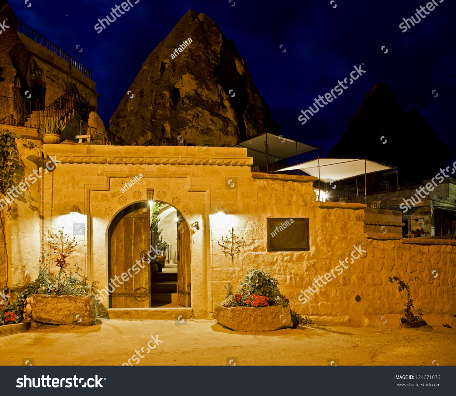 limestone cave residence converted to a boutique hotel goreme turkey night scene under street