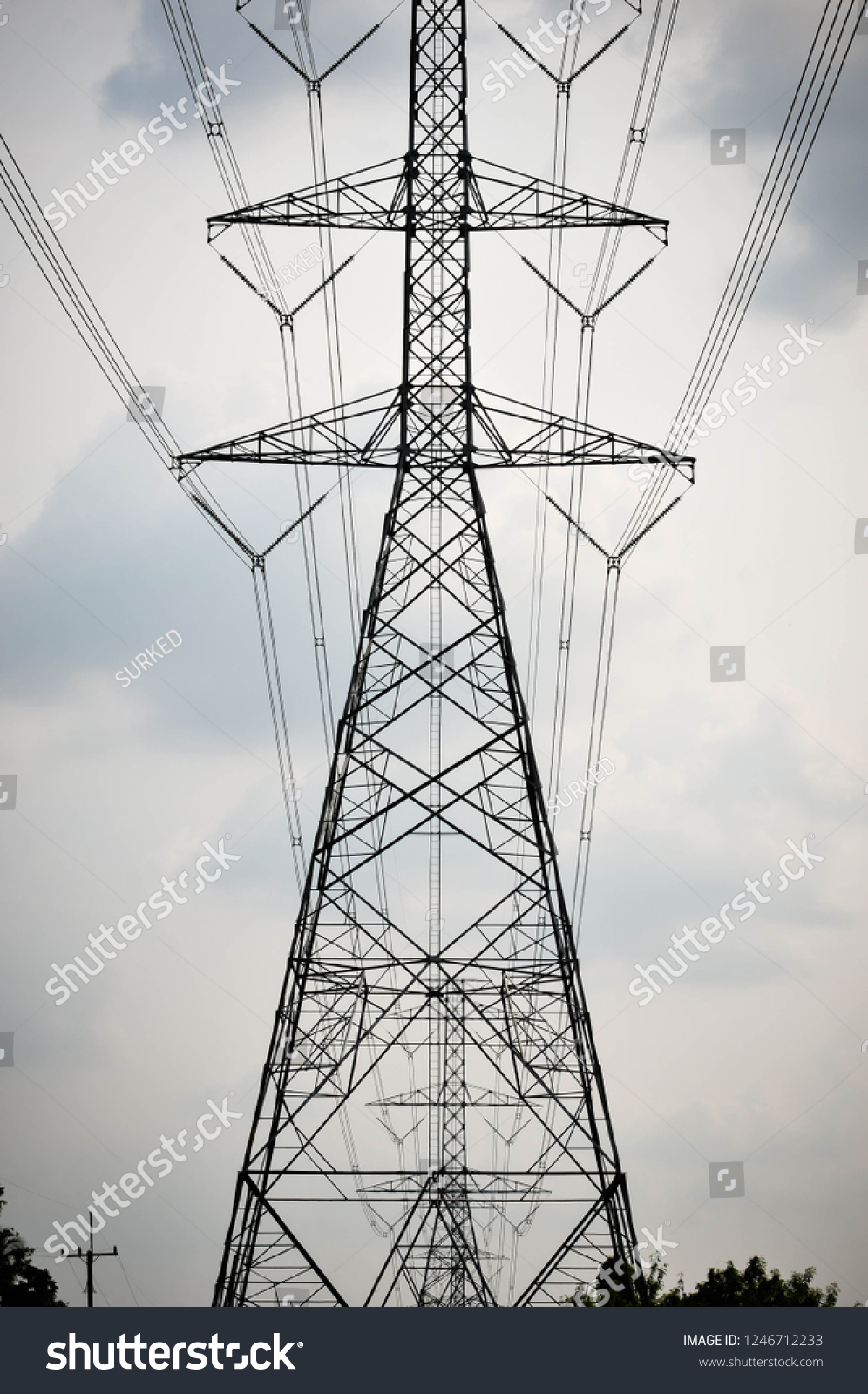 Group Silhouette Transmission Towers Power Tower Stock Photo Edit Now 1246712233