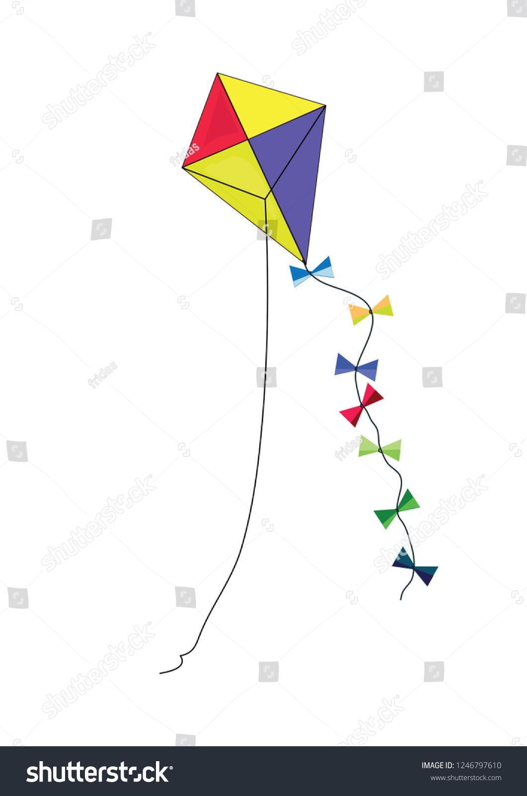 Flying Kite Vector Kids Stock Vector Royalty Free 1246797610