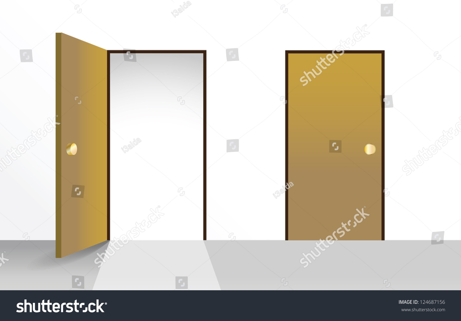 Open door closed door - Set Of Open And Closed Doors Illustration