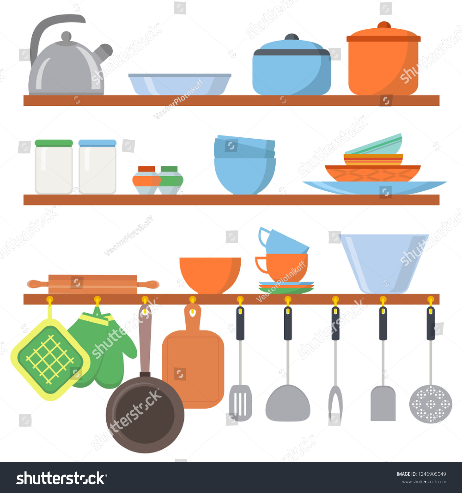 3fc3bcd9b5 Kitchen equipments and utensils big set icons on shelf isolated on white  background. Cooking tools objects collection. Kitchenware in flat style -  Vector