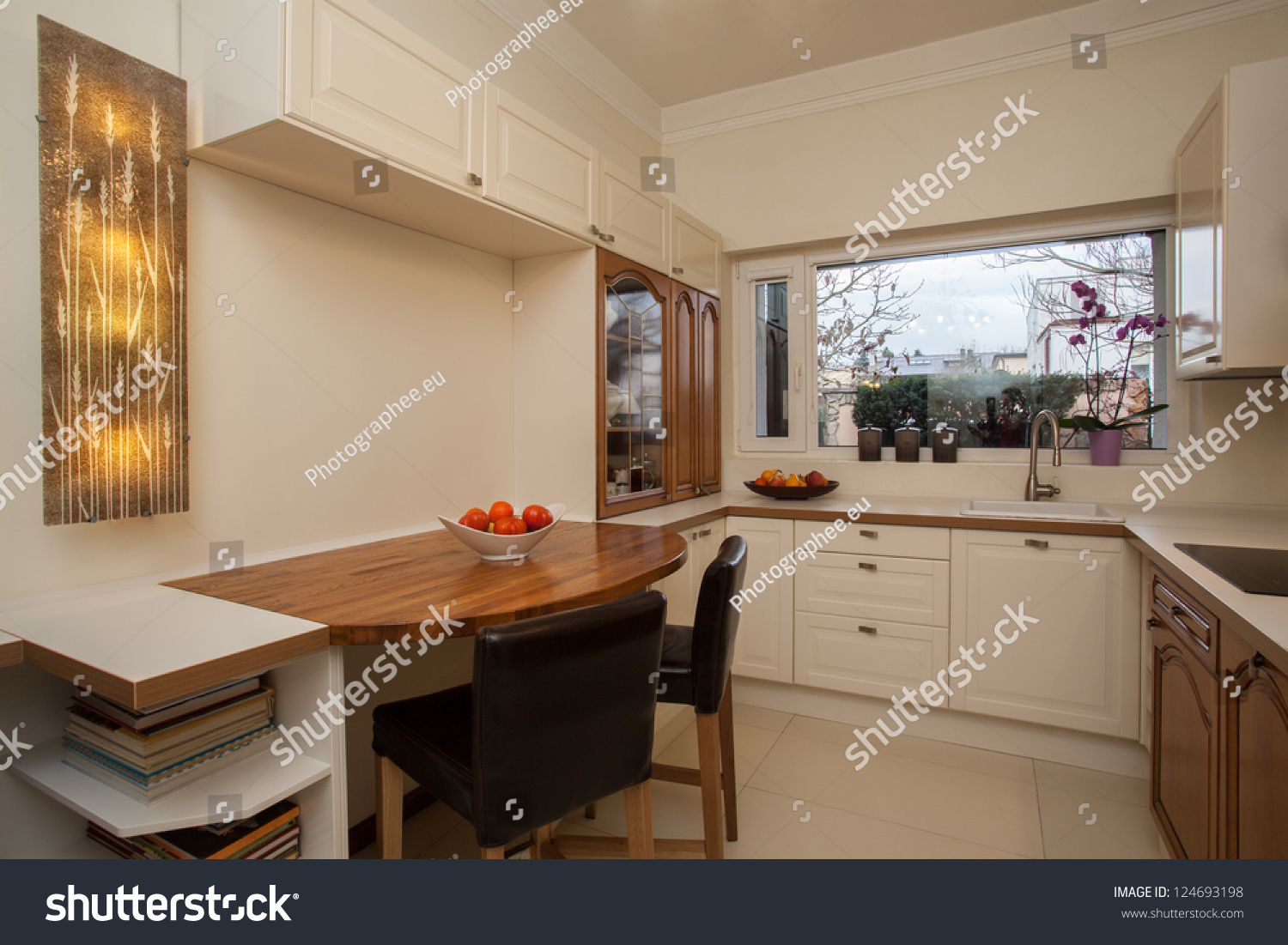 Cloudy Home Bright Interior Practical Kitchen Stock Photo