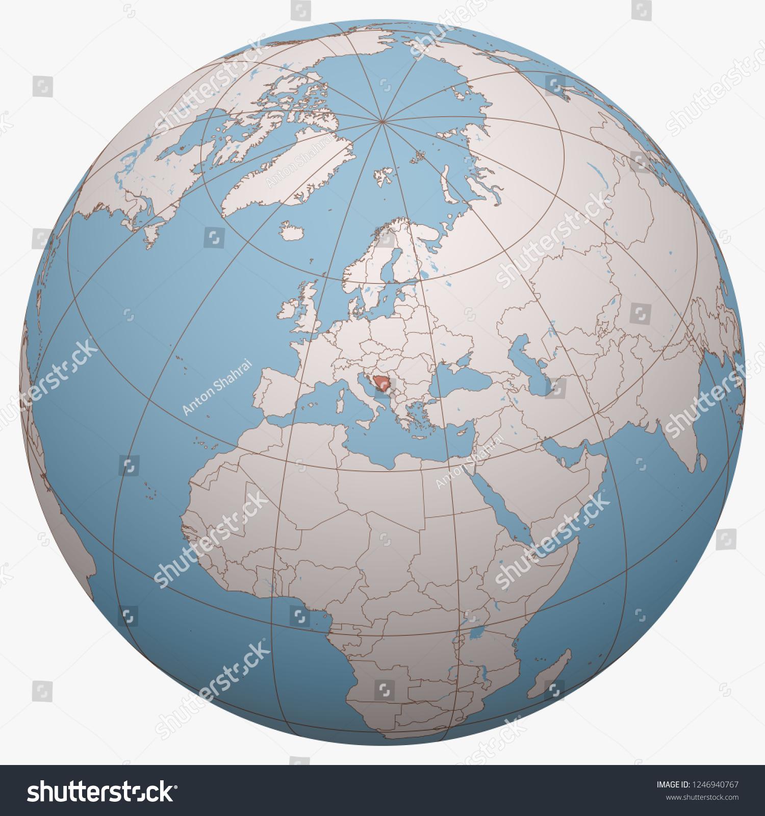 Picture of: Bosnia Herzegovina Bh Bih On Globe Stock Vector Royalty Free 1246940767