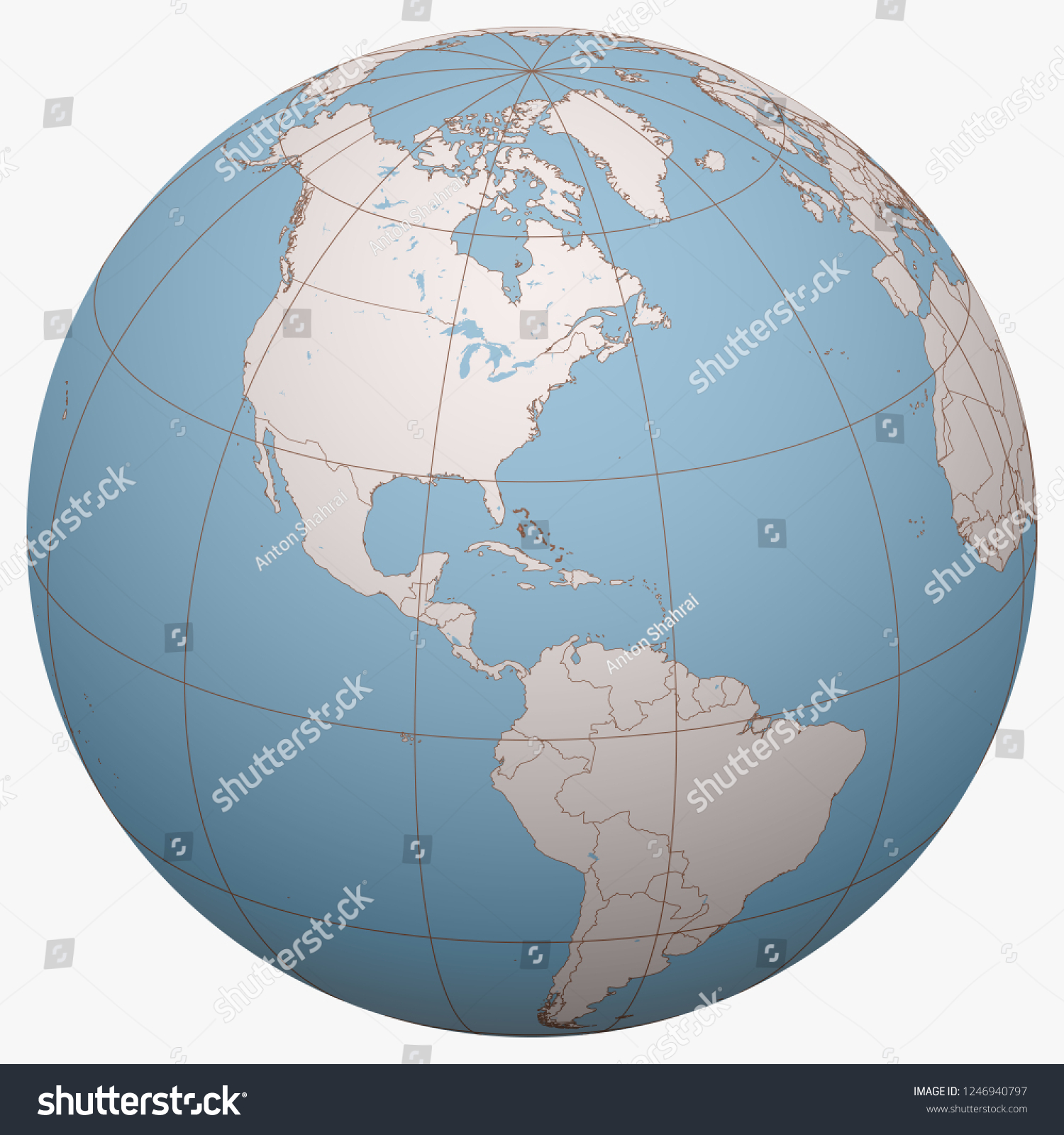 Picture of: Bahamas On Globe Earth Hemisphere Centered Stock Vector Royalty Free 1246940797