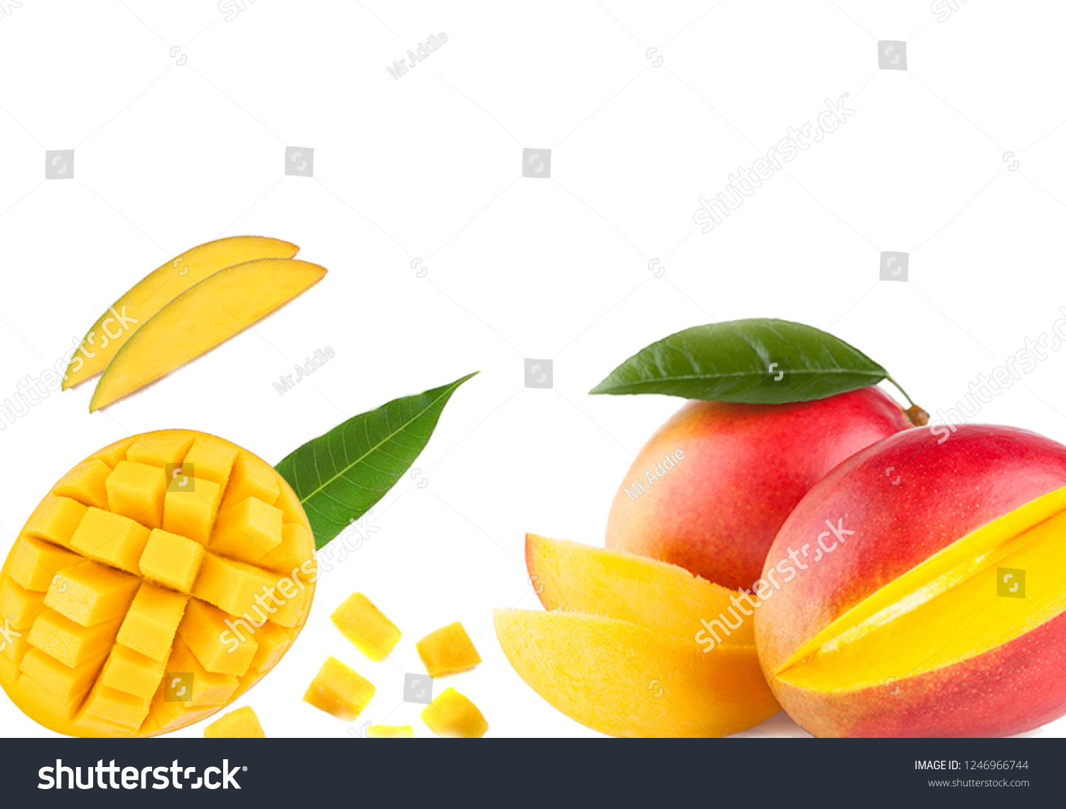 stock photo alphonso mangoes with slices and chopped pieces wallpaper 1246966744