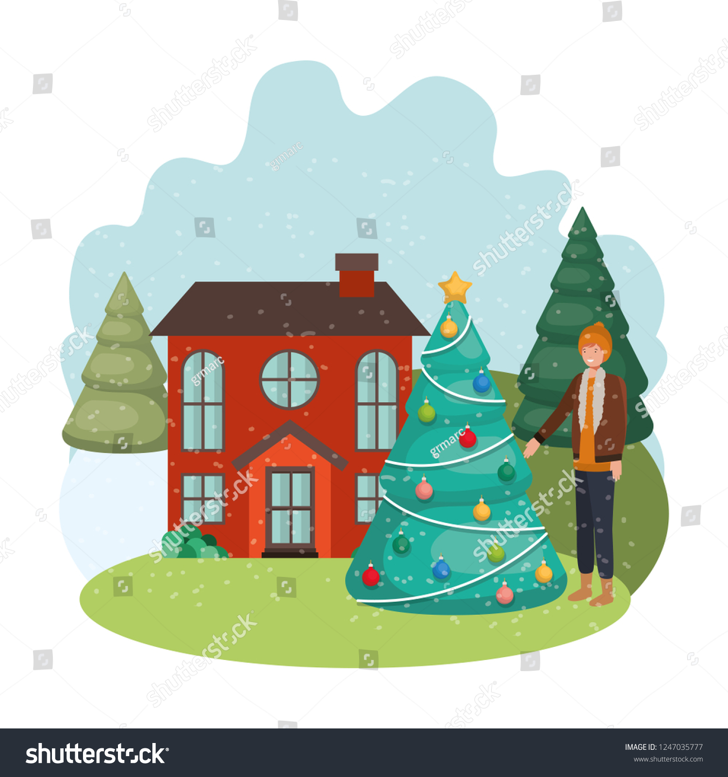Man Christmas Tree Outside House Stock Vector Royalty Free 1247035777 Check out our funny cartoon tree selection for the very best in unique or custom, handmade pieces from our shops. shutterstock