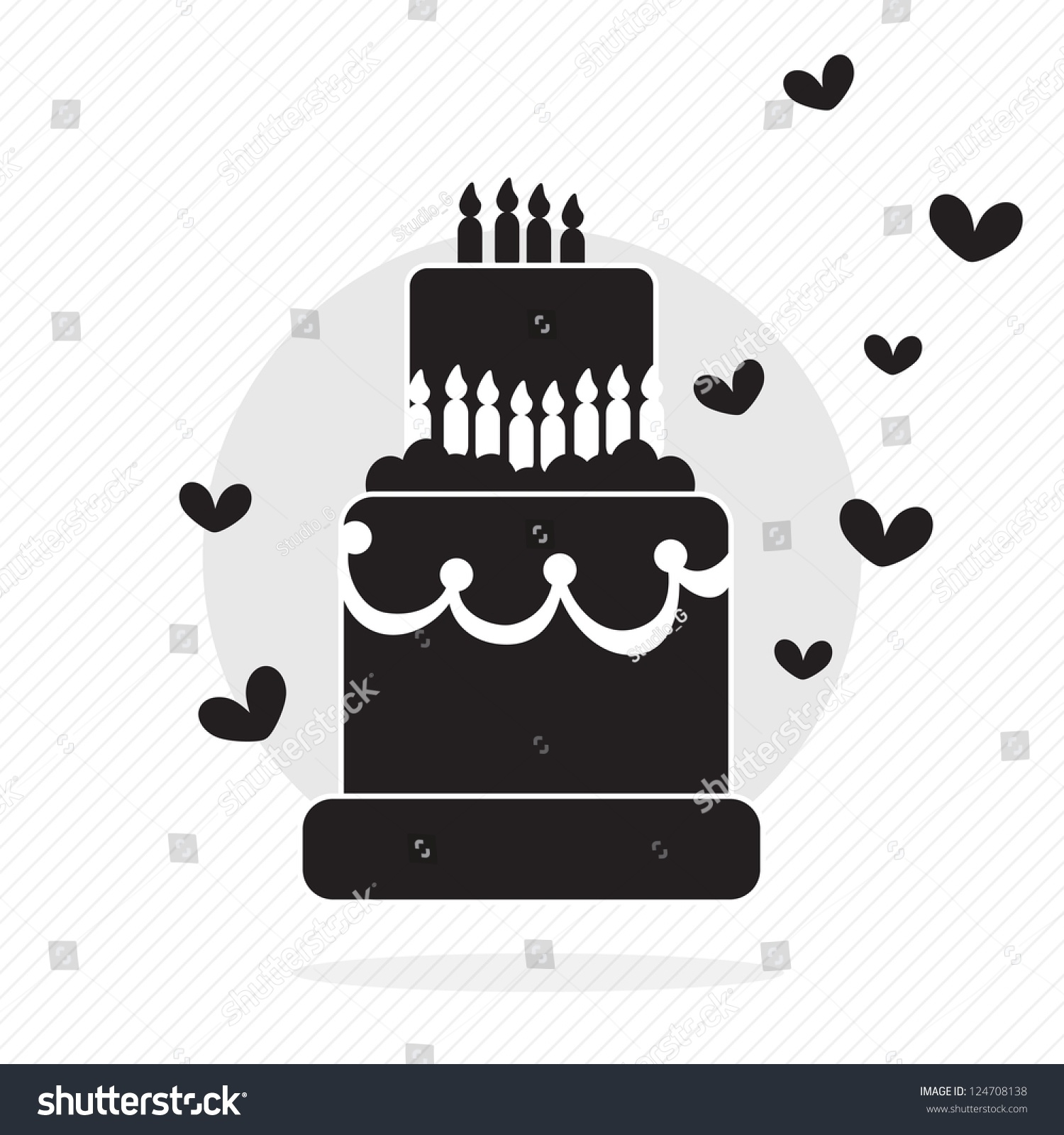 Birthday Cake Silhouette Hearts Candles Vector Stock