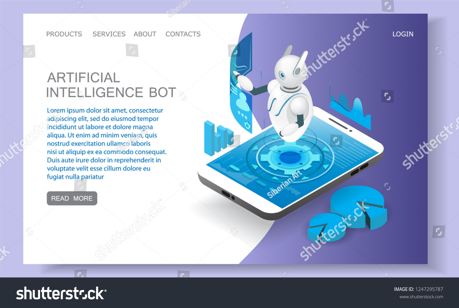 Artificial Intelligence Landing Page Website Template Stock Vector