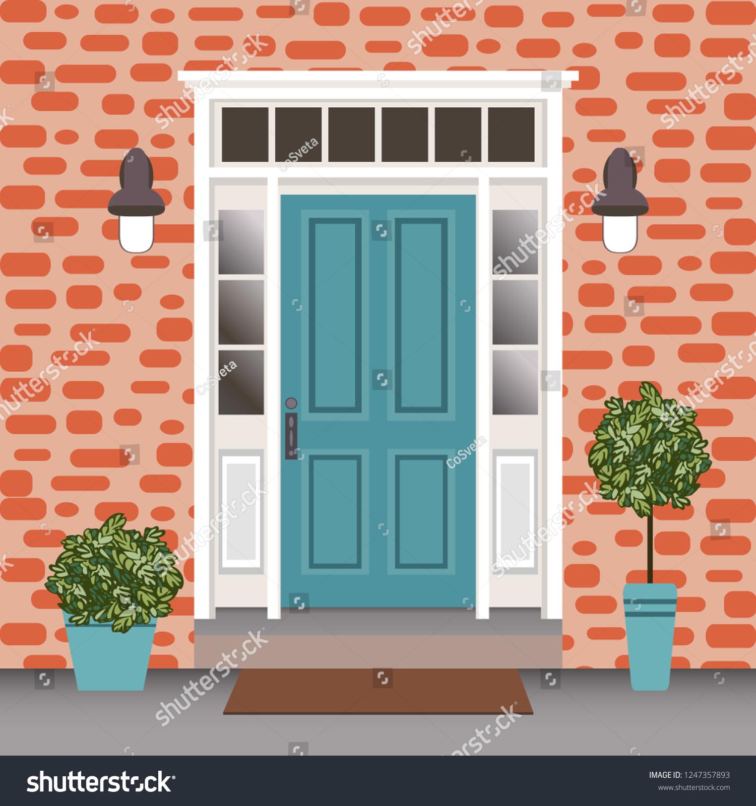 Entrée De Maison Avec Marche image vectorielle de stock de porte avant de la maison avec