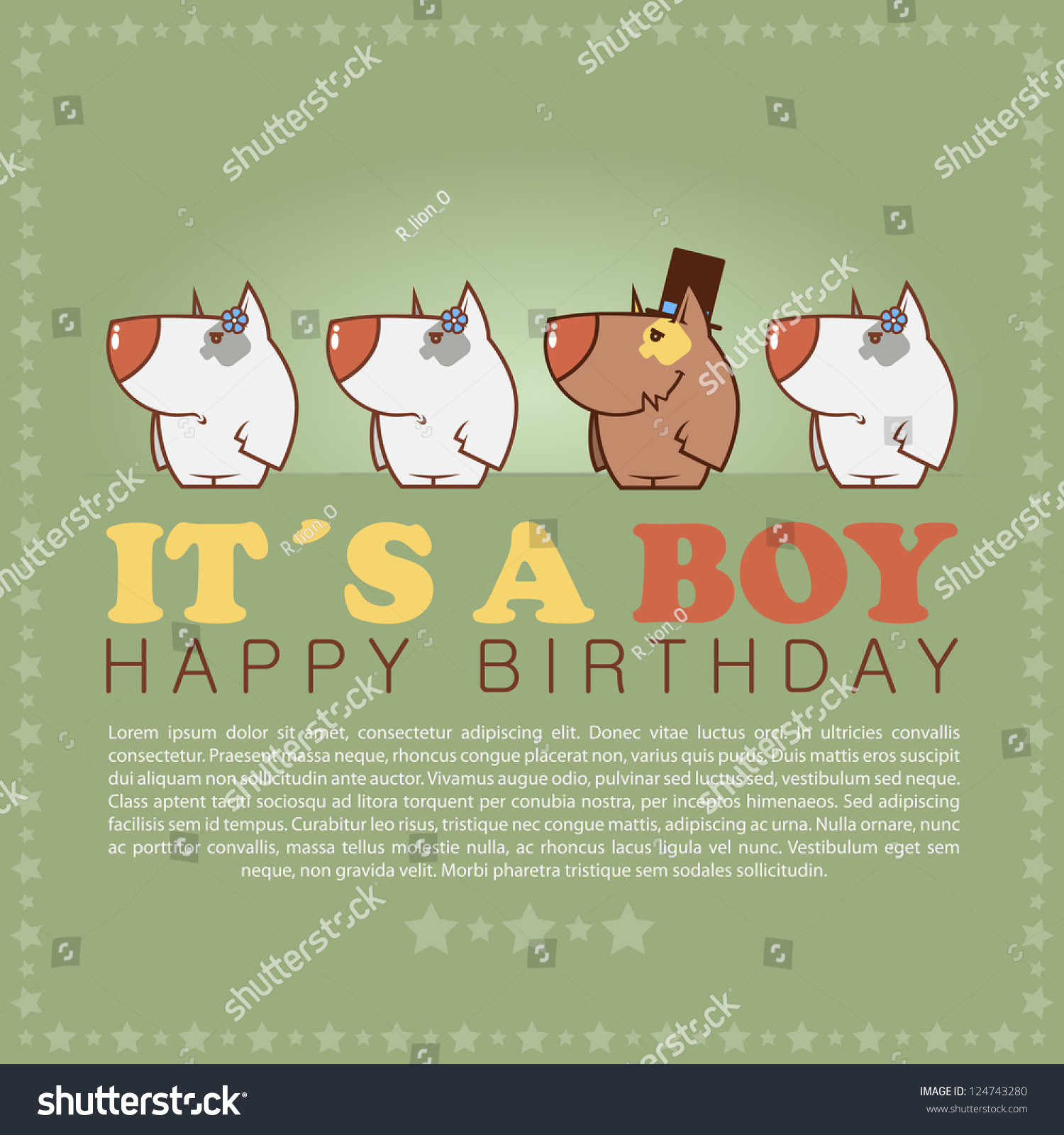 Funny Happy Birthday Greeting Card Cute Stock Vector