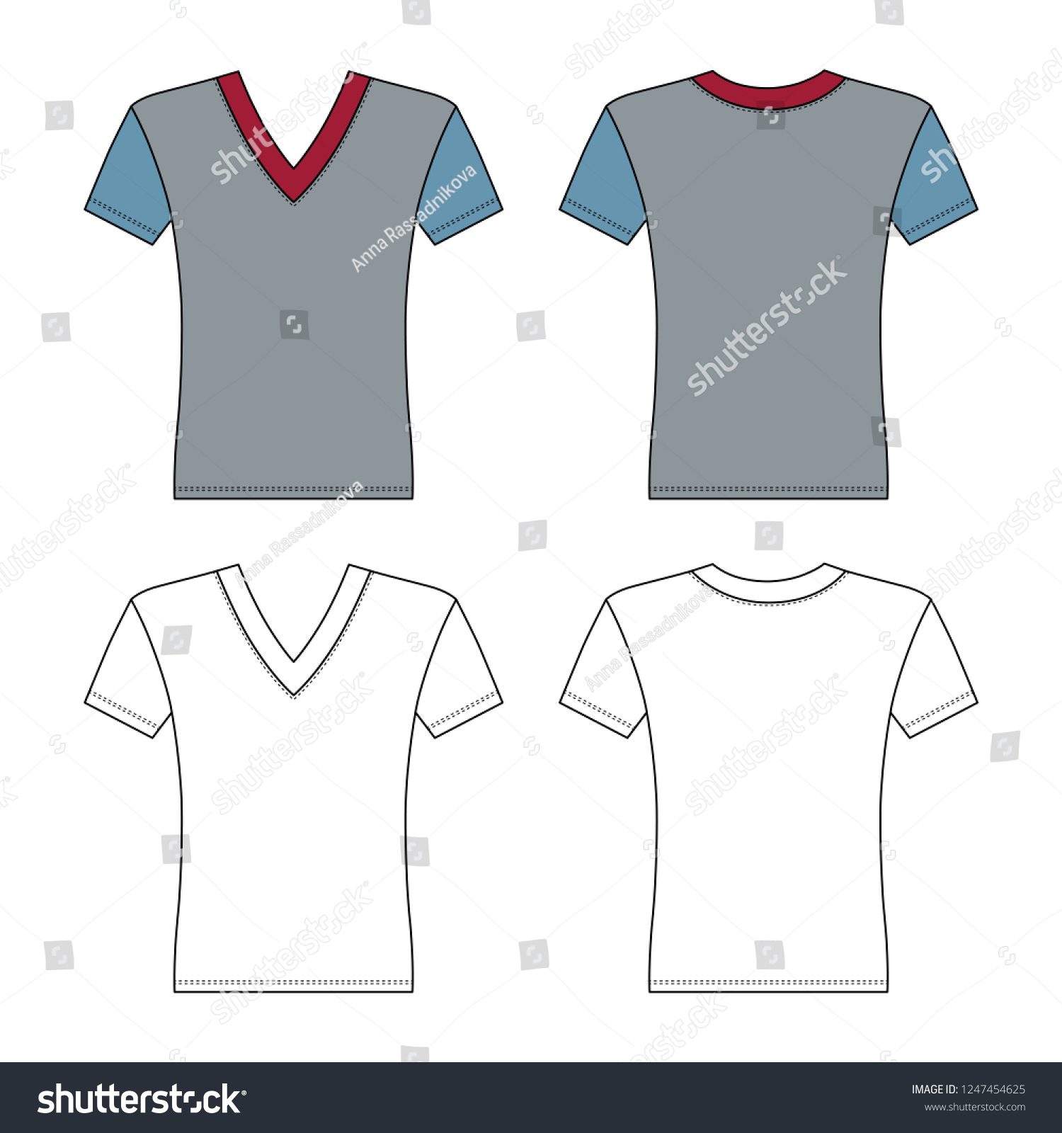 T Shirt Man Template Front Back Stock Vector Royalty Free