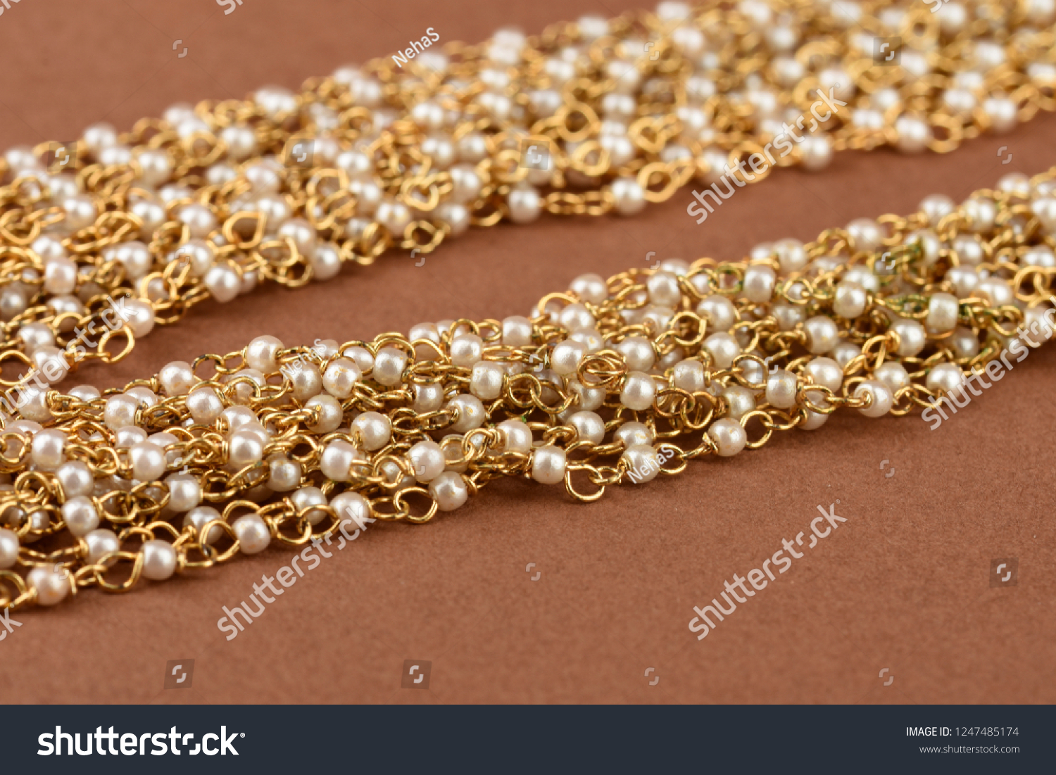 Pearl Jewelry On Brown Background Pearl Stock Photo Edit Now
