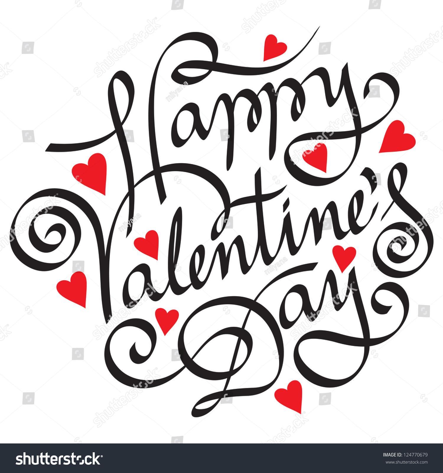 Happy valentines day handmade calligraphy vector stock