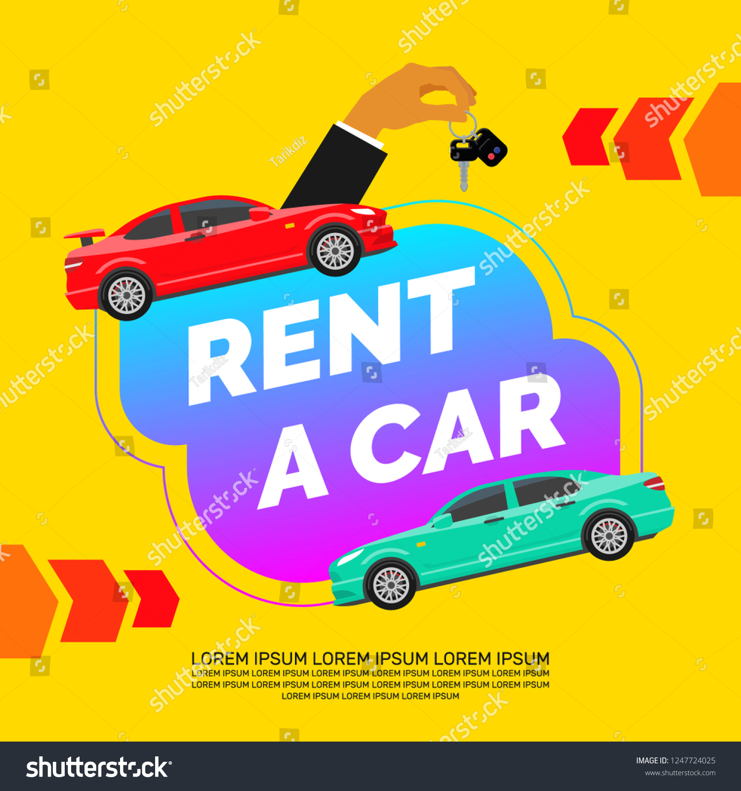Rent Car Creative Modern Banner Design Stock Vector Royalty Free 1247724025