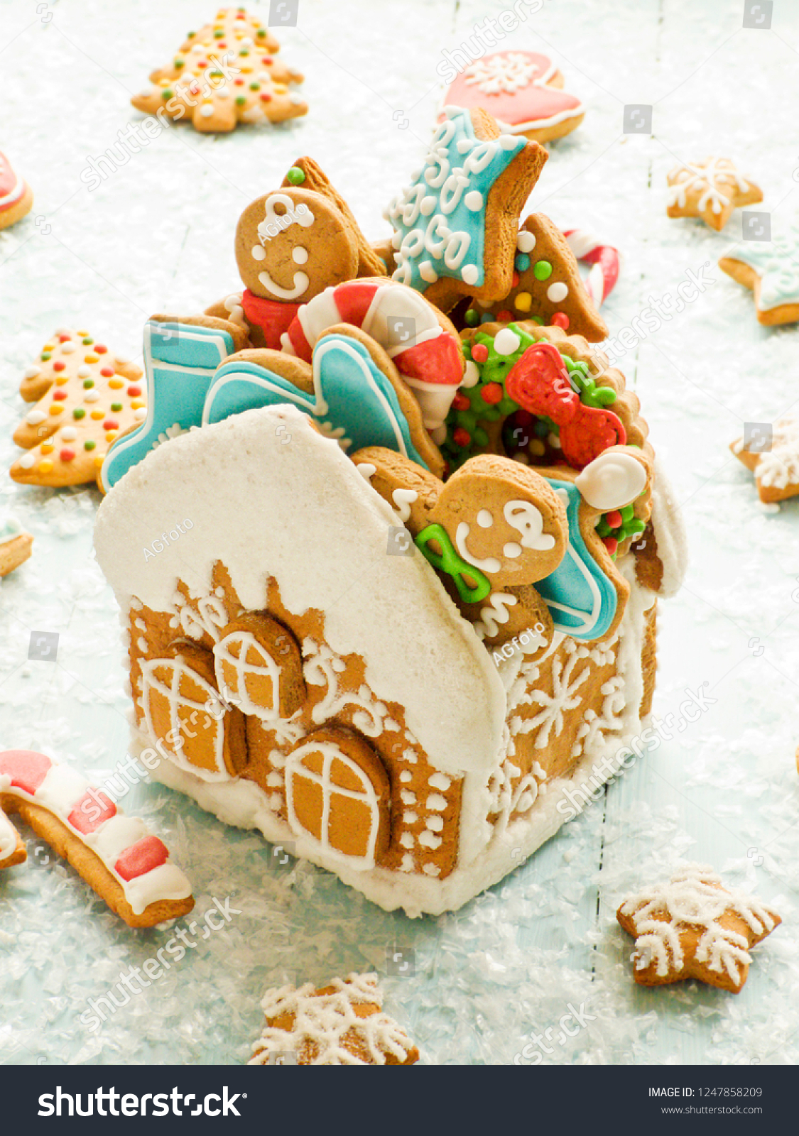 Christmas Gingerbread House Full Cookies Shallow Stock Photo Edit