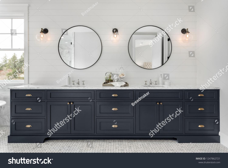 Large Double Vanity in Master Bathroom in New Luxury Home. #1247862721
