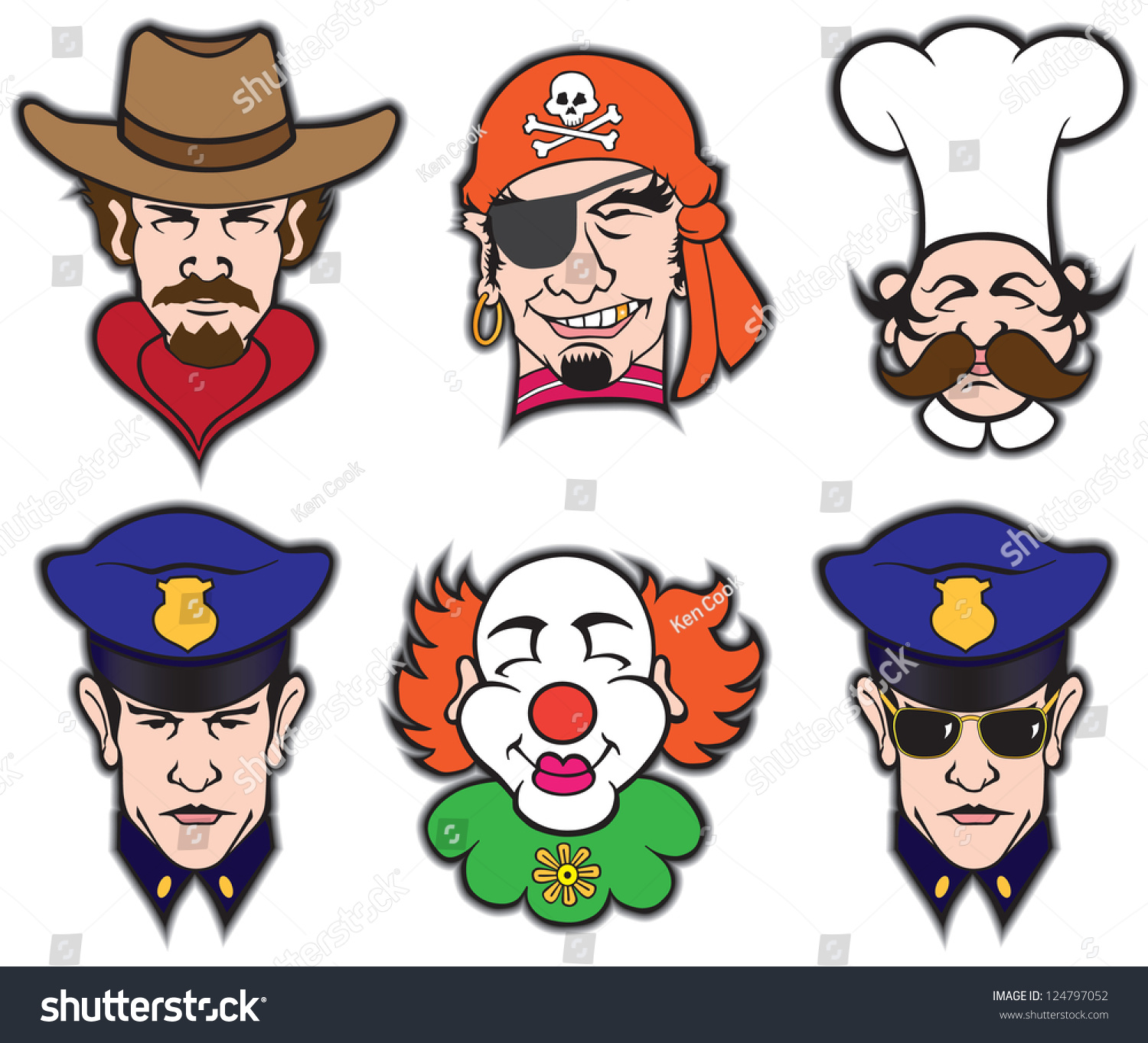 Uncategorized Pirate Faces six faces consisting cowboy pirate chef stock vector 124797052 of policeman and clown