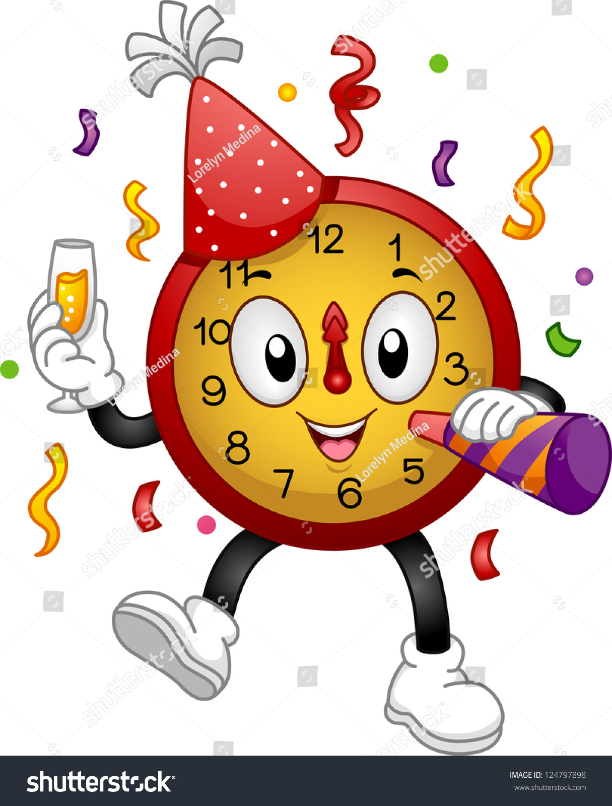 illustration of a clock mascot wearing a party hat and using a noise maker to celebrate