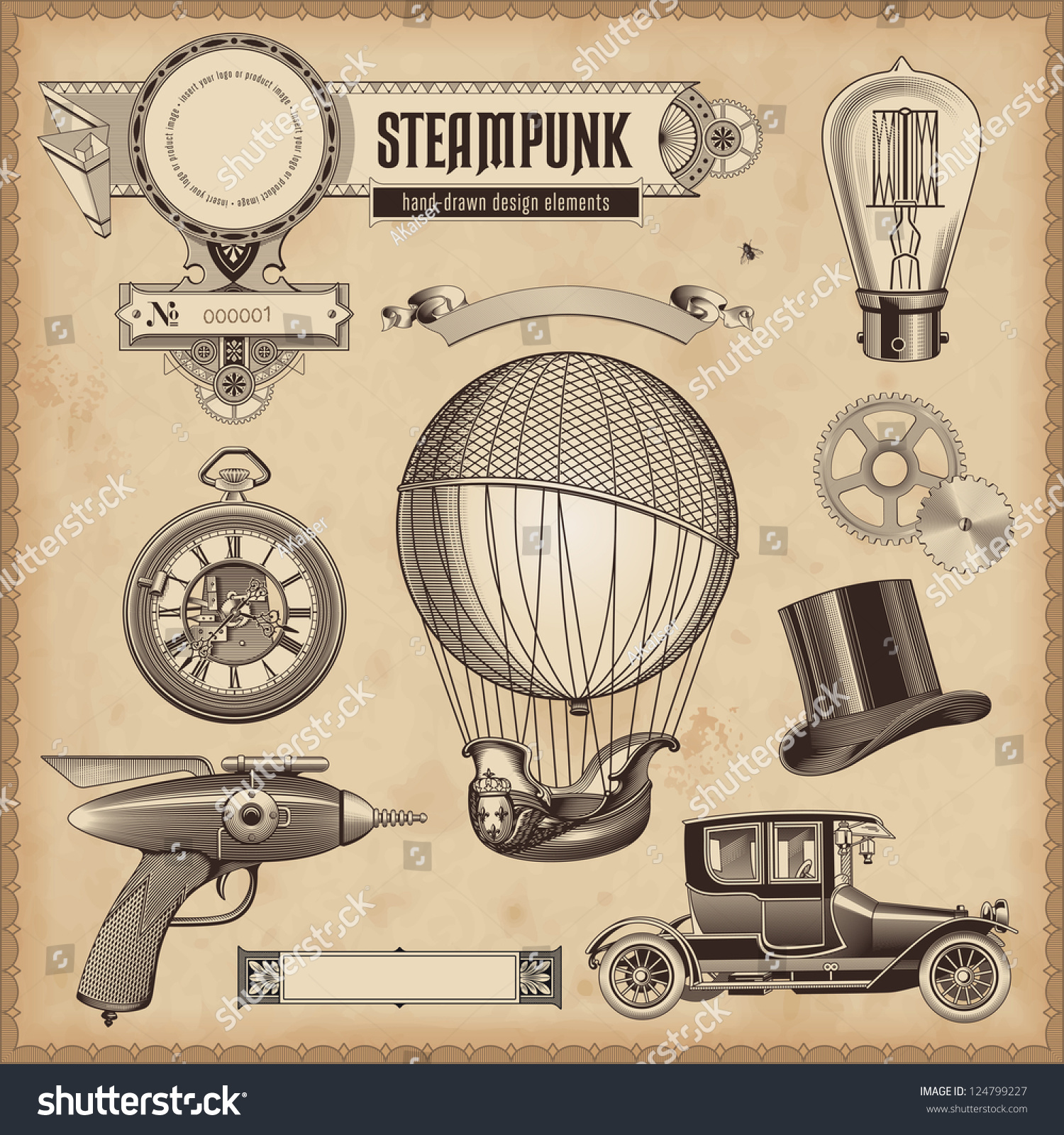 Vector set steampunk design elements stock vector for What is steampunk design