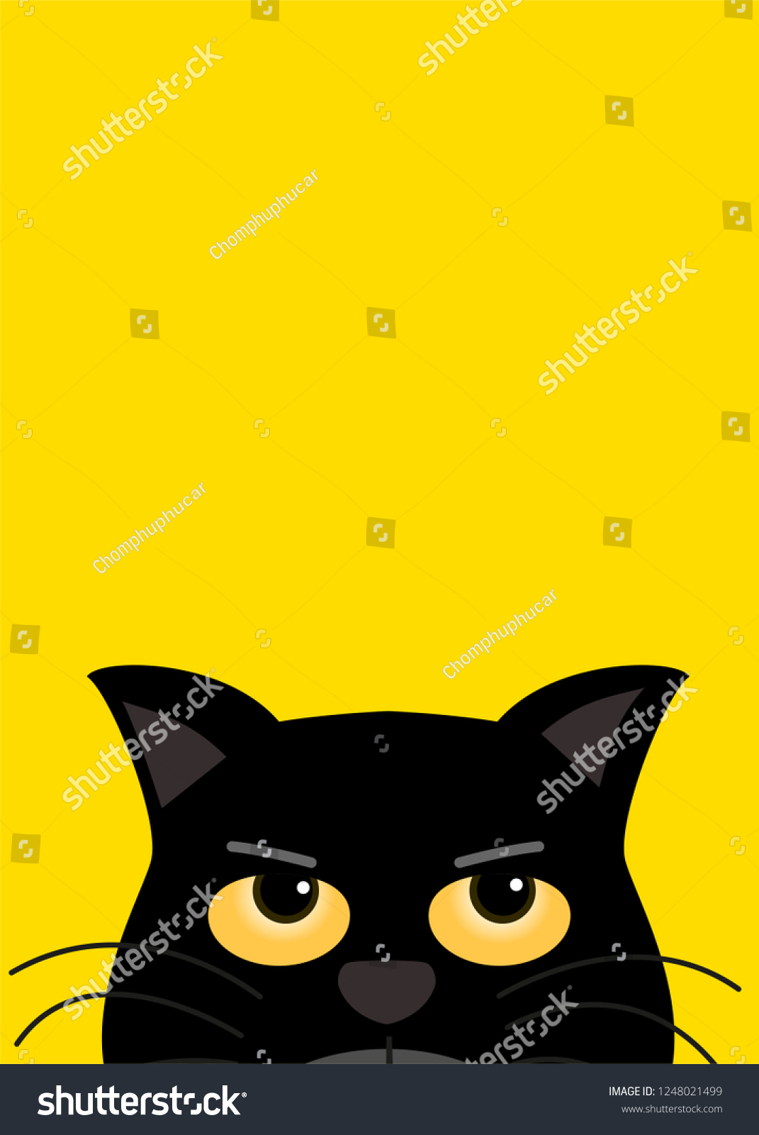 Black Cat Yellow Eye Look On Stock Vector Royalty Free 1248021499