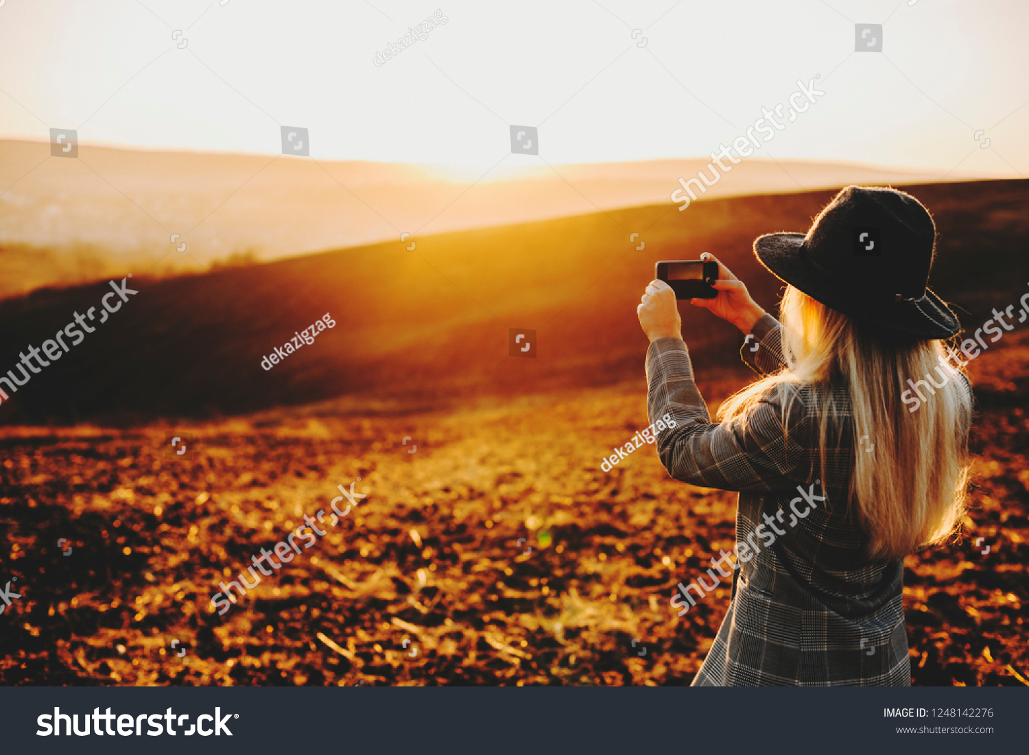 back view anonymous woman stylish outfit stock photo edit now