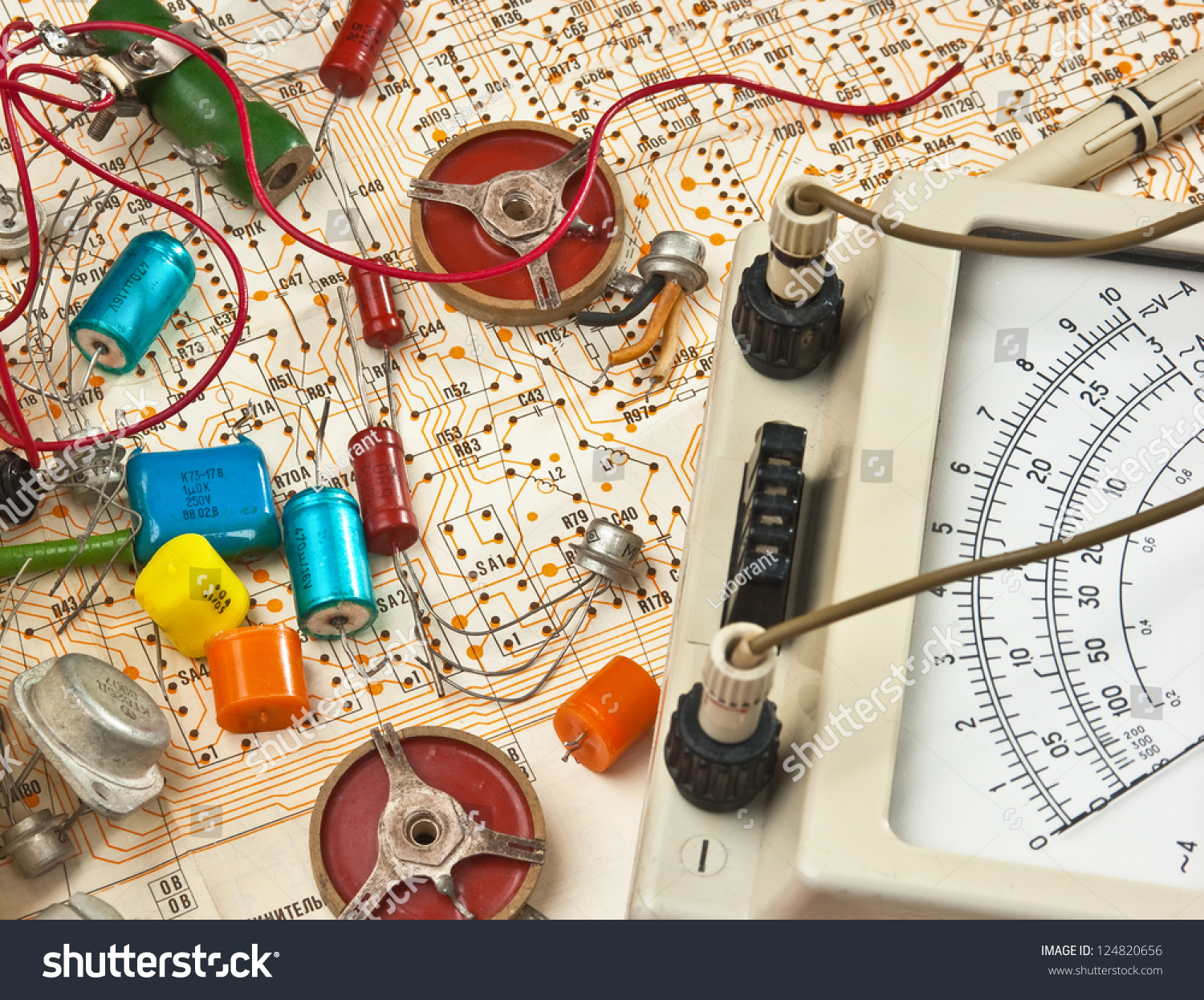 Electrical Components Wiring Diagram Automotive Basic Tips Besides Nordyne Electric Furnace On Old Electronic Lie The Stock Photo