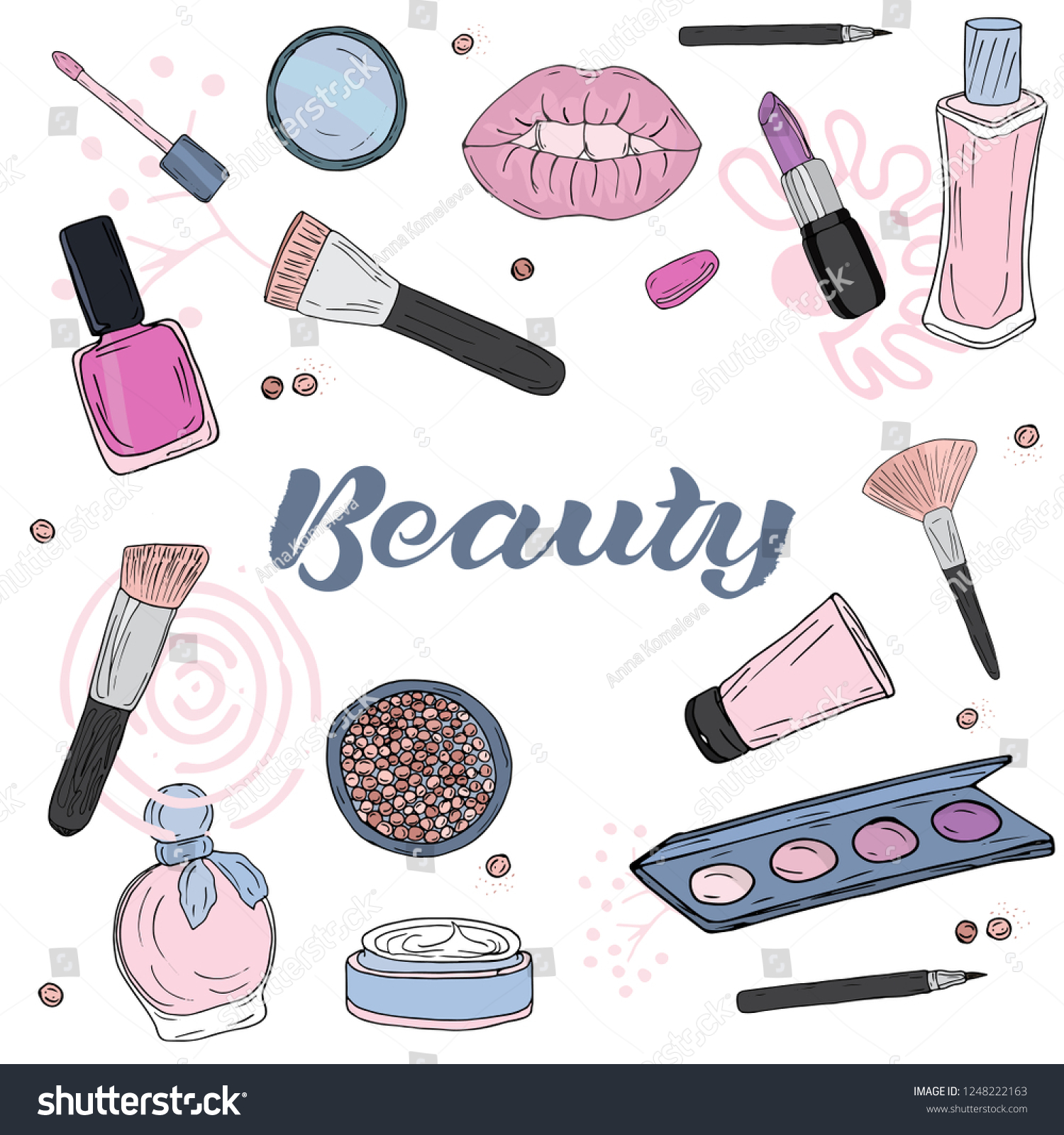 Cosmetics Products Fashion Makeup Banner Vector Stock Vector Royalty Free 1248222163