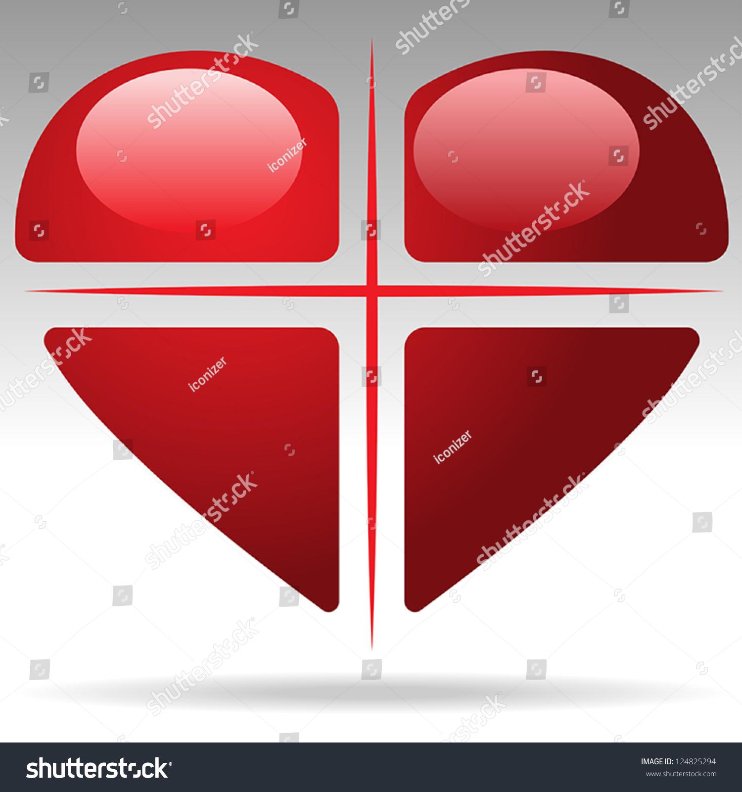 Cross Heart Vector - 124825294 : Shutterstock