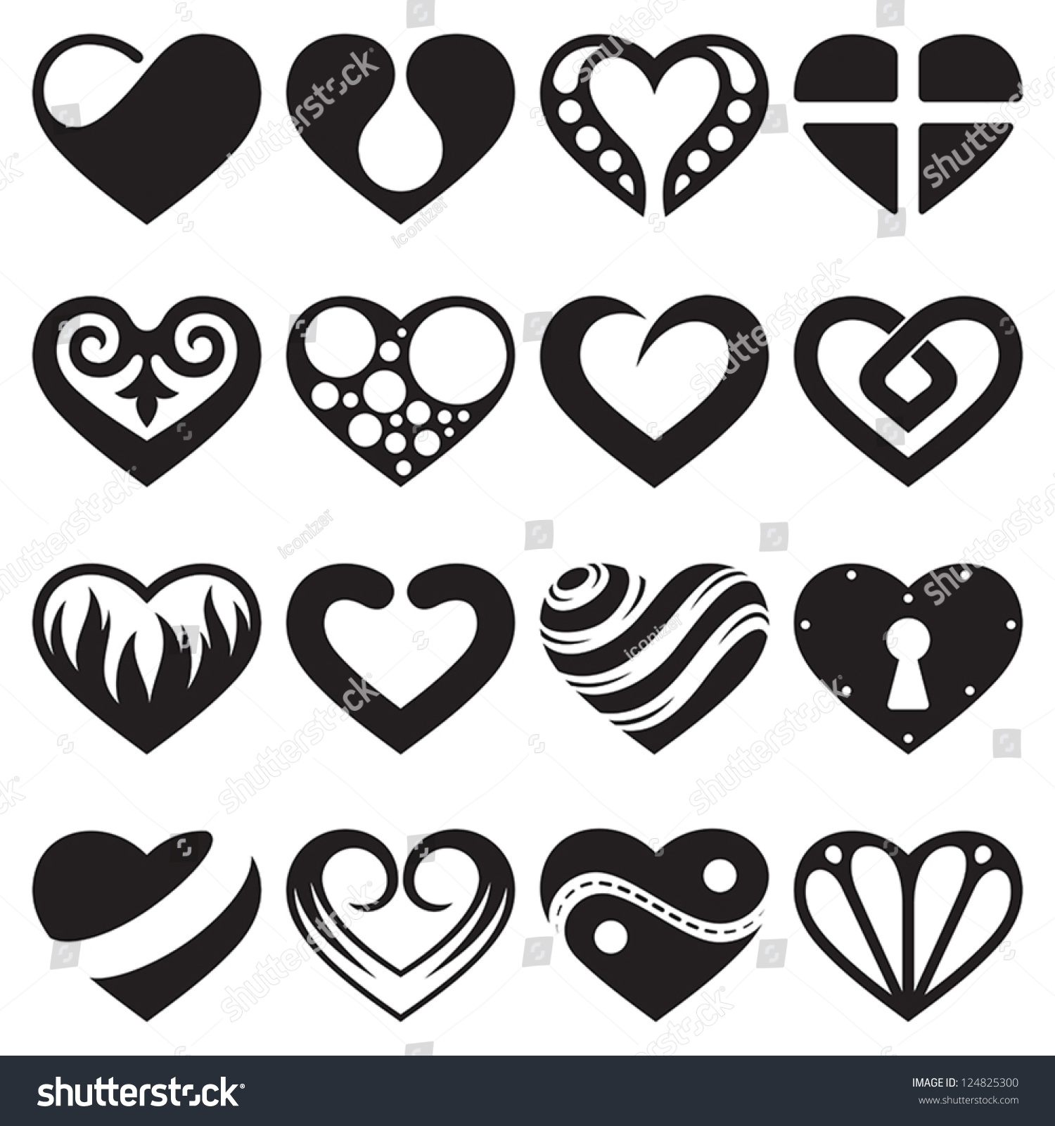 Heart Icons Signs Symbols Set Stock Vector Royalty Free 124825300