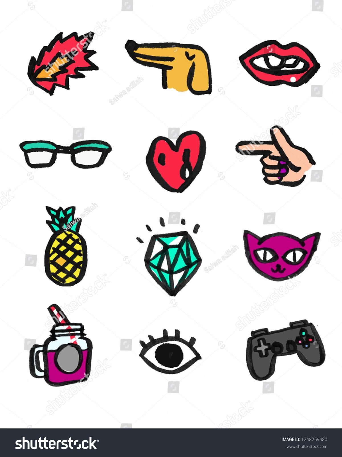 Sticker Logo Symbol Sign Tumblr Aesthetic Stock Illustration ...