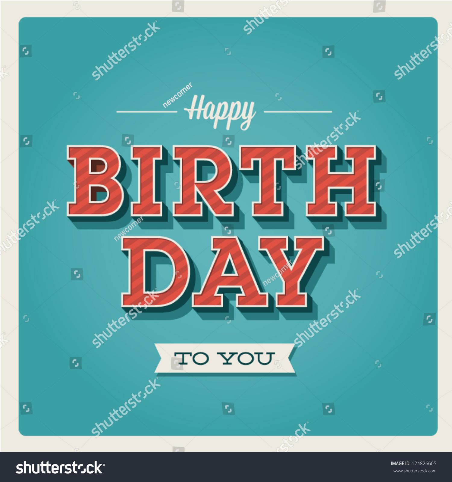 happy birthday card retro vintage typography stock vector, Birthday card