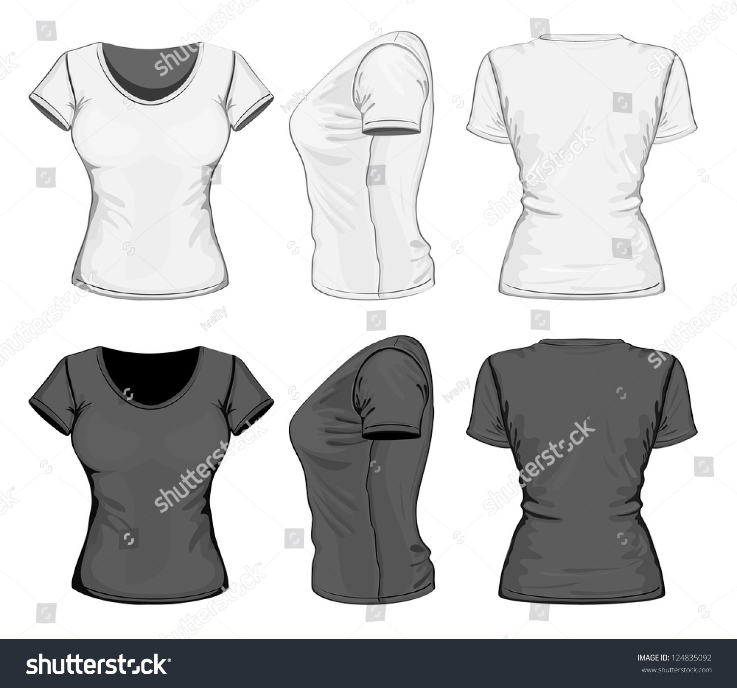 Design your own t-shirt front and back - Vector Womens Tshirt Design Template Front Stock Vector 124835092