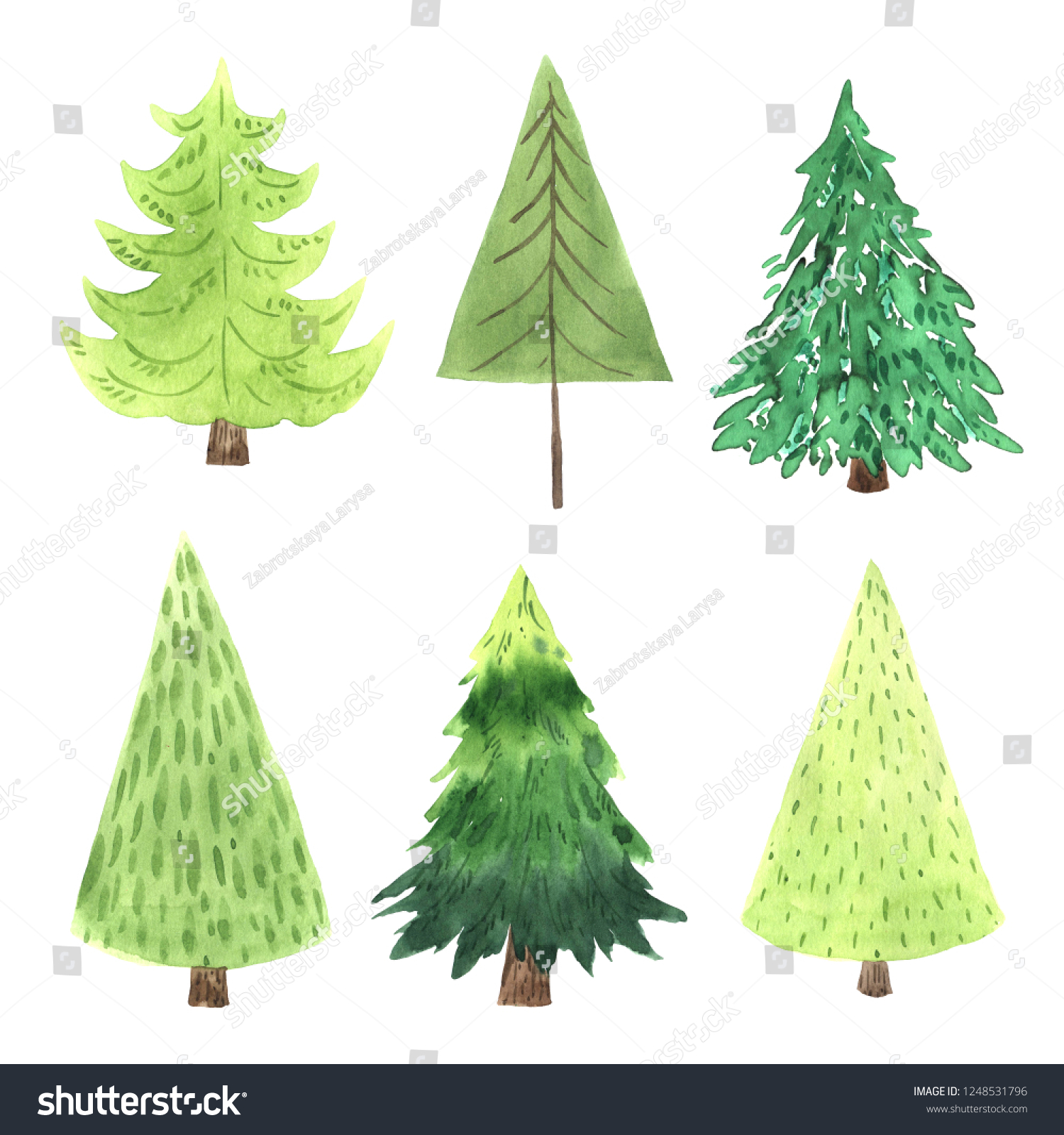 royalty free stock illustration of watercolor green christmas tree